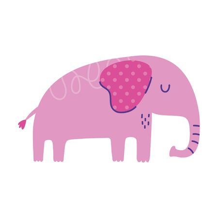 elephant pachyderm animal cartoon doodle color vector illustration