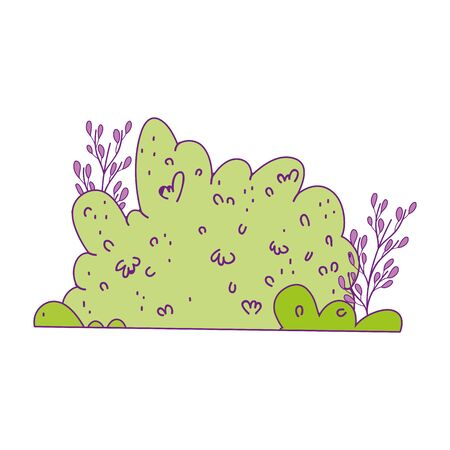 bush foliage vegetation leaves branch nature vector illustration Stock Illustratie
