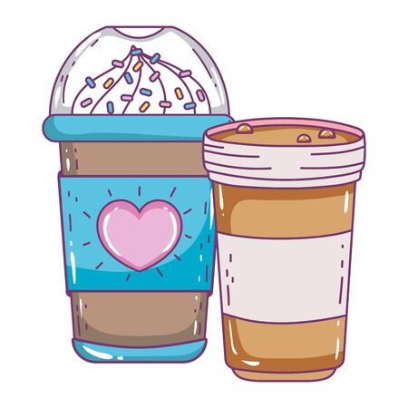 Iced coffee mug and glass design, Drink breakfast beverage bakery restaurant and shop theme Vector illustration