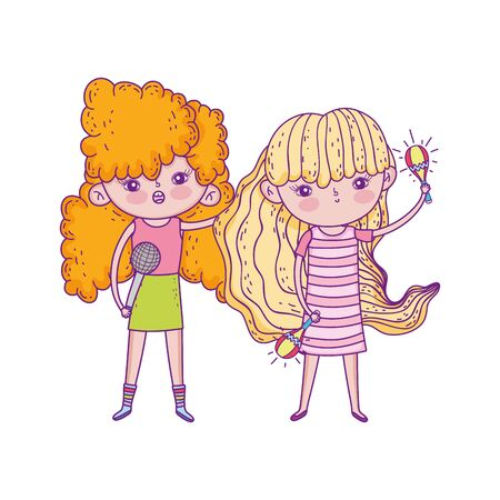 happy childrens day, little girls with microphone and maracas music vector illustration Illustration