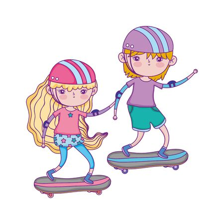 happy childrens day, boy and girl riding skateboard in the park vector illustration