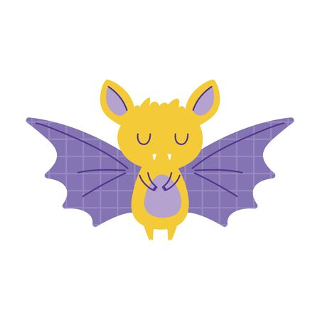 bat with grid wings animal cartoon doodle color vector illustration Иллюстрация