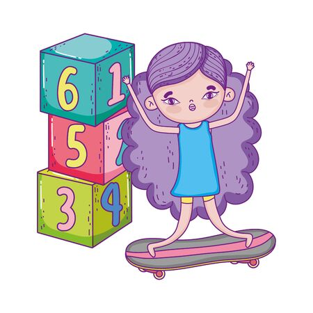 happy childrens day, little girl in skateboard with slide and blocks park vector illustration