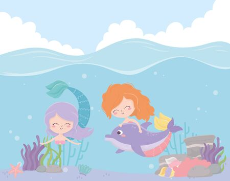 mermaids with dolphin reef coral cartoon under the sea vector illustration Foto de archivo - 140215505