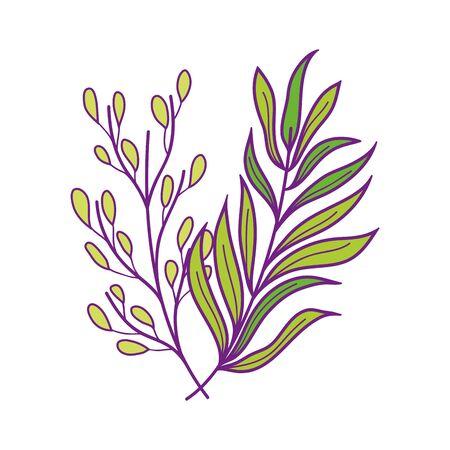 foliage leaves branch nature vegetation icon on white background vector illustration Stock Illustratie