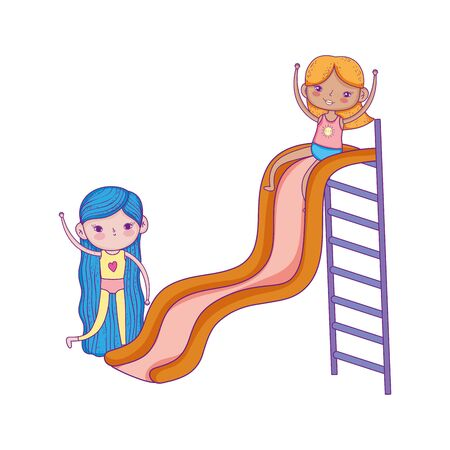 happy childrens day, cute girls playing in slide playground park vector illustration Illustration