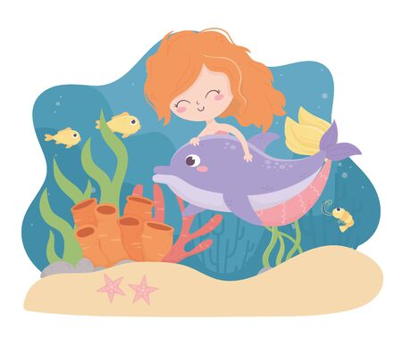 mermaid dolphin fishes shrimp starfish sand coral cartoon under the sea vector illustration Ilustrace