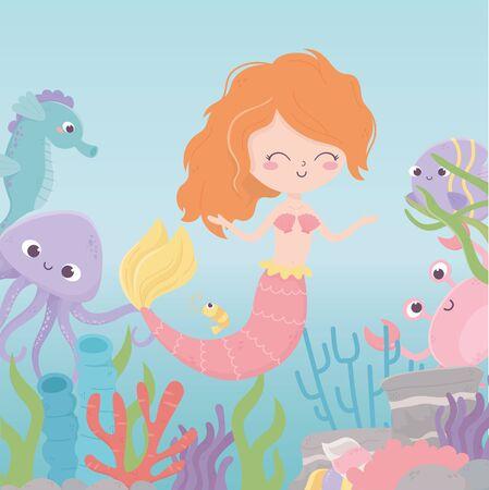 mermaid seahorse octopus crab shrimp coral cartoon under the sea vector illustration