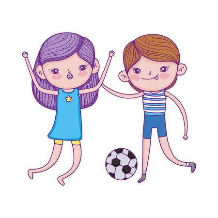 happy childrens day, boy and girl playing with football ball cartoon vector illustration