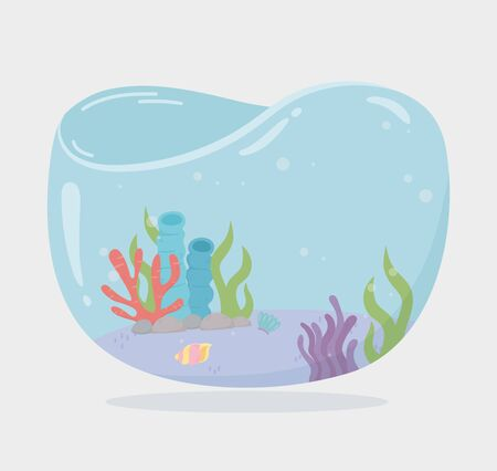 algae reef shellsea water shaped tank for fishes under sea cartoon vector illustration Foto de archivo - 140215464