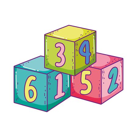 toys pile cube numbers blocks building cartoon vector illustration Vector Illustratie