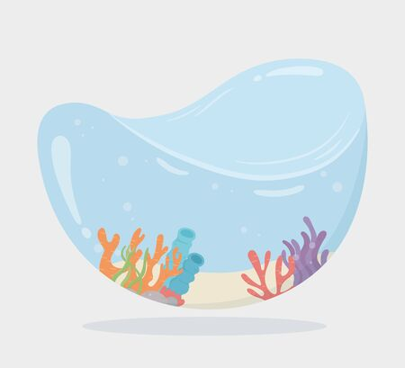 reef coral water shaped tank for fishes under sea cartoon vector illustration Foto de archivo - 140215477