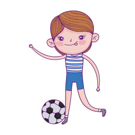 happy childrens day, boy playing with football ball cartoon vector illustration Ilustracja