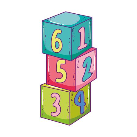 toys pile cube numbers blocks building cartoon vector illustration