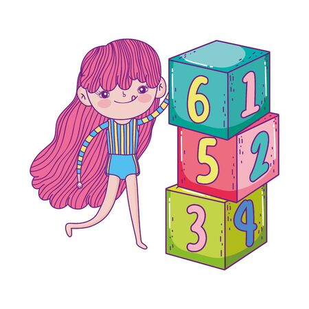 happy childrens day, cute girl with numbers blocks park vector illustration