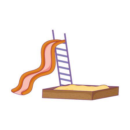 playground slide sandbox game for kids vector illustration