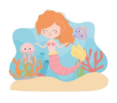 mermaid jellyfish fish coral sand cartoon under the sea vector illustration Foto de archivo - 140215571