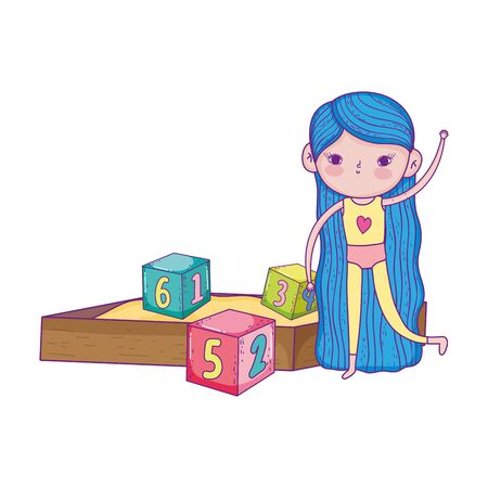 happy childrens day, girls in sandbox with numbers blocks park vector illustration