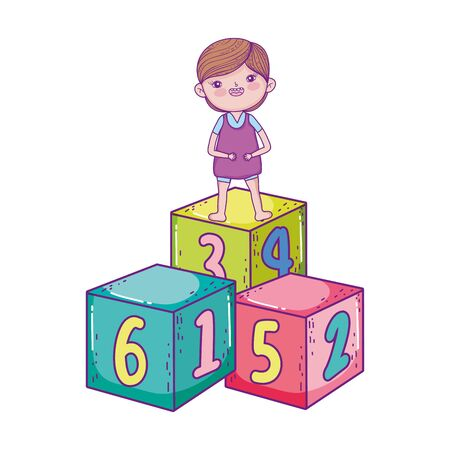 happy childrens day, little boy standing on numbers cubes cartoon vector illustration