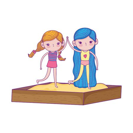 happy childrens day, little girl holding hands in the sandbox playground vector illustration
