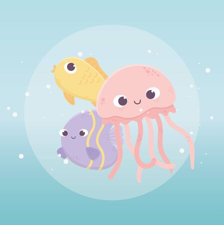 jellyfish fishes swimming bubbles water life cartoon under the sea