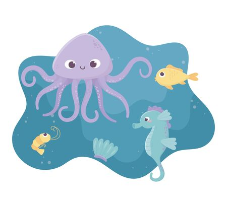octopus seahorse fish shrimp and shell life cartoon under the sea vector illustration