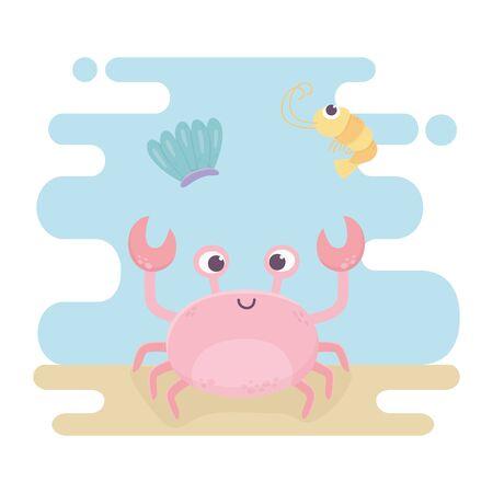 crab and squid life cartoon under the sea