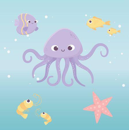 octopus fishes starfish shrimp life cartoon under the sea Ilustrace