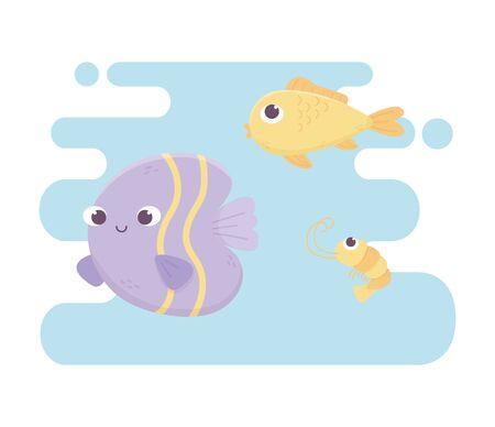 fishes and shrimp life cartoon under the sea Ilustrace