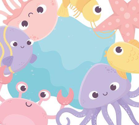 jellyfish crab shrimp fish starfish octopus life cartoon under the sea vector illustration Ilustrace