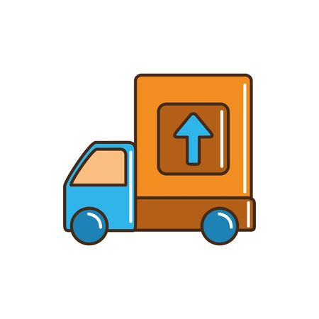 truck merchandise transport cargo delivery vector illustration line and fill