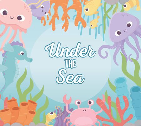 octopus jellyfish crab fishes shrimp life coral reef cartoon under the sea