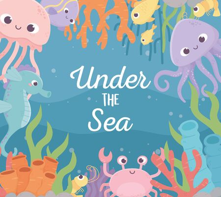 jellyfish octopus fishes shrimp crab life coral reef cartoon under the sea Ilustrace