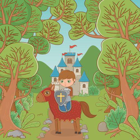 Knight and horse of fairytale design Ilustração