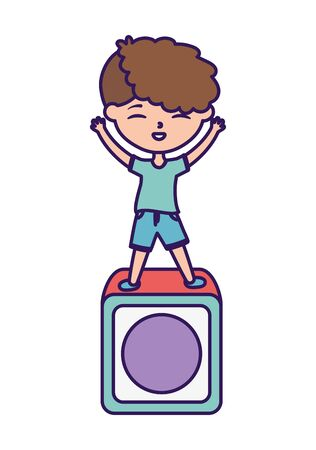 happy childrens day, little boy playing in block toy cartoon
