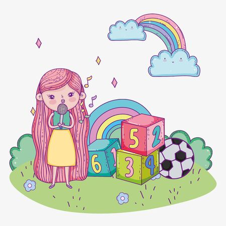 happy childrens day, cute girl sing with microphone block ball park vector illustration Illustration