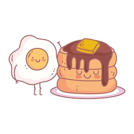 pancakes butter syrup and fried egg menu restaurant food cute vector illustration Ilustração