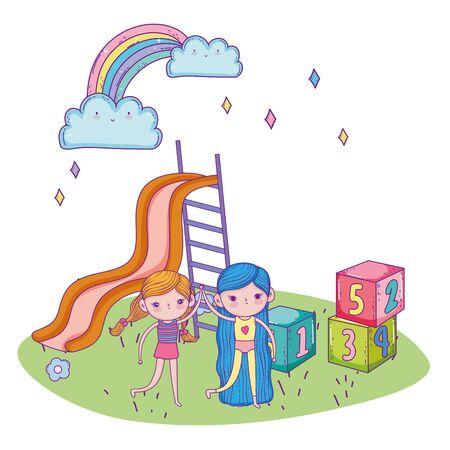 happy childrens day, friendly girls with slide blocks park vector illustration