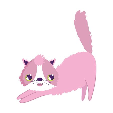 pink stretching cat cartoon feline character pets Illustration