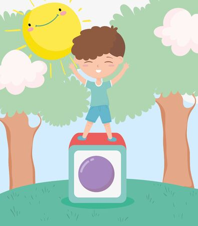 happy childrens day, little boy playing in block toy landscape cartoon Vectores
