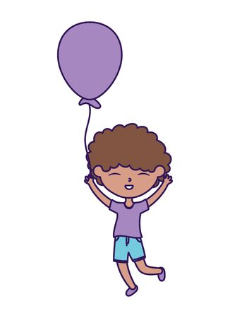happy childrens day, cute boy holding balloon celebration party
