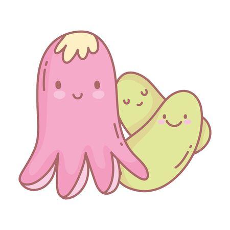 octopus and character menu restaurant cartoon food cute Illustration