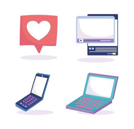 social media laptop smartphone speech bubble video web icons vector illustration