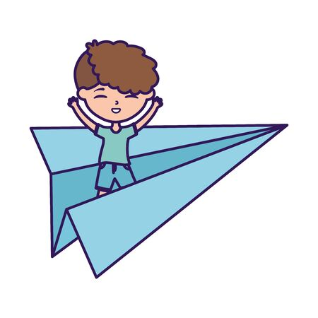 happy childrens day, little boy playing on paper plane cartoon Stock Illustratie