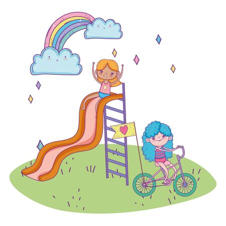 happy childrens day, girl playing in slide and girl riding bike in the park vector illustration