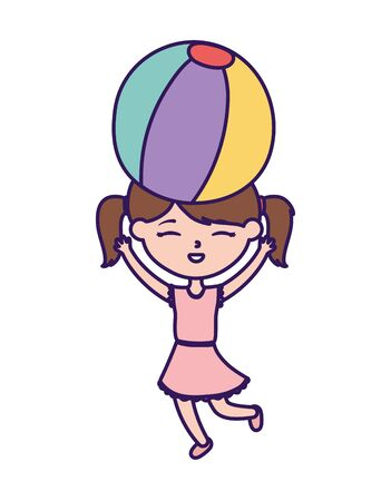 happy childrens day, little girl with ball in head toy celebration cartoon