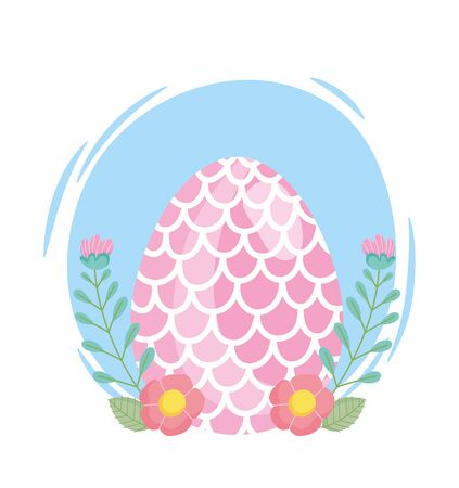 happy easter egg decorated with shape of fish scales flowers vector illustration
