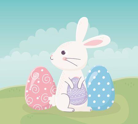 happy easter sitting rabbit with eggs on grass celebration vector illustration Stock Illustratie