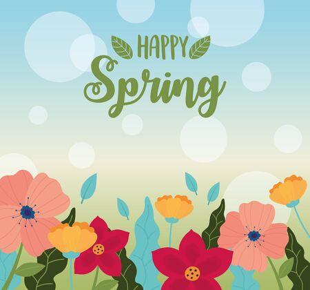happy spring flowers petals decoration blurred background vector illustration