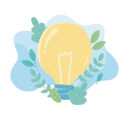 light bulb energy green foliage environment ecology vector illustration